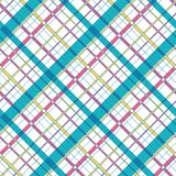 Diagonal plaid check patten in bold pink, yellow, turquoise colors on white background. Seamless vector pattern for royalty free illustration
