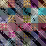 Diagonal plaid pattern with grunge effect. Royalty Free Stock Images