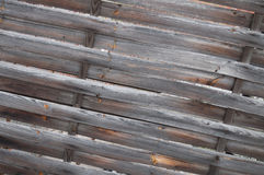 Diagonal planked wooden fence Royalty Free Stock Images