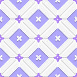 Diagonal purple floristic in frame pattern. Abstract 3d seamless background. Diagonal purple floristic in frame pattern with cut out of paper 3d effect royalty free illustration
