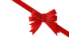 Diagonal red gift bow Stock Photography