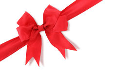 Diagonal red gift bow Royalty Free Stock Image