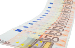 Diagonal row of euro notes Stock Photo