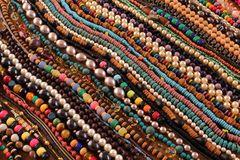 Beaded Necklaces. Diagonal Rows of Handmade Beaded Necklaces stock photography