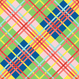 Diagonal seamless pattern in bright colors. Diagonal seamless vector pattern as a tartan plaid in various trendy bright colors stock illustration