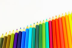 Diagonal set of color pencils Royalty Free Stock Photography