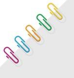 Diagonal sheet paper clips Stock Photography