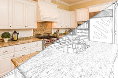 Diagonal Split Screen Of Drawing and Photo of New Kitchen. Diagonal Split Screen Of Drawing and Photo of Beautiful New Kitchen stock photos
