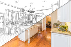 Diagonal Split Screen Of Drawing and Photo of New Kitchen. Diagonal Split Screen Of Drawing and Photo of Beautiful New Kitchen stock images