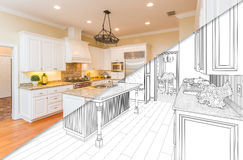 Diagonal Split Screen Of Drawing and Photo of New Kitchen stock illustration