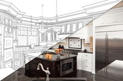 Diagonal Split Screen Of Drawing and Photo of New Kitchen vector illustration