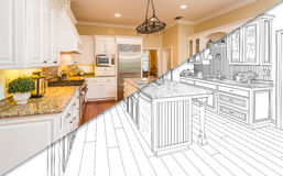 Diagonal Split Screen Of Drawing and Photo of New Kitchen royalty free illustration
