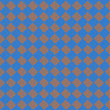 Diagonal squareorange and blue seamless fabric texture pattern Stock Photos