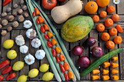 Diagonal Still life of vegetables and lemmons on a table Royalty Free Stock Images