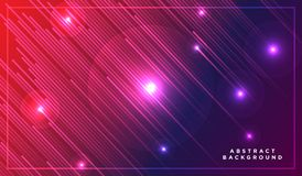 Diagonal stripes vector lines falling with shadow and glowing light illustration. Space and stars on dark purple pink background. stock illustration