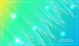 Diagonal stripes vector lines falling with shadow and glowing light illustration. Space and stars on green yellow background. royalty free stock images