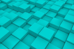 Diagonal surface made of cyan cubes. Wall of cubes. Abstract background. 3d render Royalty Free Stock Images