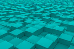 Diagonal surface made of cyan cubes. Wall of cubes. Abstract background. 3d render Royalty Free Stock Photography