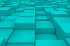 Diagonal surface made of cyan cubes. Wall of cubes. Abstract background. 3d render Stock Images