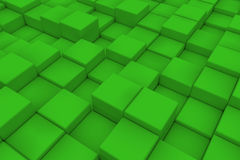 Diagonal surface made of green cubes. Wall of cubes. Abstract background. 3d render Stock Images