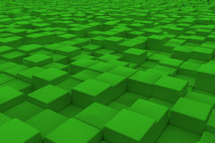 Diagonal surface made of green cubes. Wall of cubes. Abstract background. 3d render Royalty Free Stock Photography