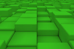 Diagonal surface made of green cubes. Wall of cubes. Abstract background. 3d render Royalty Free Stock Photo