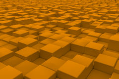 Diagonal surface made of orange cubes. Wall of cubes. Abstract background. 3d render Stock Images