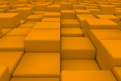 Diagonal surface made of orange cubes. Wall of cubes. Abstract background. 3d render Royalty Free Stock Photography