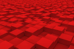 Diagonal surface made of red cubes Stock Photo