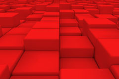 Diagonal surface made of red cubes. Wall of cubes. Abstract background. 3d render Royalty Free Stock Photo