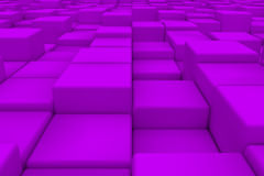 Diagonal surface made of violet cubes. Wall of cubes. Abstract background. 3d render Stock Photography