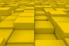 Diagonal surface made of yellow cubes Royalty Free Stock Photos