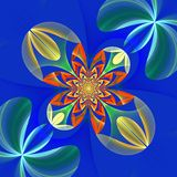 Diagonal symmetrical pattern of the flower petals. Blue and oran Royalty Free Stock Photos