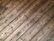 Diagonal texture of old wooden planks with rusty nails Stock Images