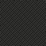 Diagonal thin wavy lines vector seamless pattern. Royalty Free Stock Image