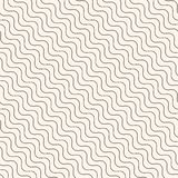 Diagonal thin wavy lines vector seamless pattern. Royalty Free Stock Photography