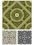 Diagonal classic tile in earthy greens Stock Photo