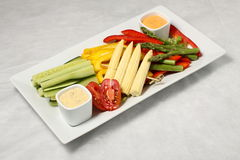 Diagonal vegetables plate Stock Images