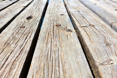 Diagonal view across wooden jetty Royalty Free Stock Image