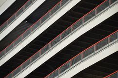 Diagonal View of Parking Garage in Portland, Oregon. This is a diagonal view of a parking garage in downtown Portland, Oregon.  Seen here are the railings Royalty Free Stock Images