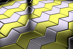 Diagonal view of steel with gold flooring Stock Photos