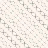 Diagonal wavy lines seamless pattern. Thin curved waves, chains. Diagonal wavy lines seamless pattern. Subtle abstract geometric background. Minimalist endless Royalty Free Stock Image