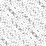 Diagonal wavy lines seamless pattern. Thin curved waves, chains, DNA. Royalty Free Stock Photos