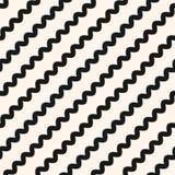 Diagonal wavy lines seamless pattern, zigzag texture, bents, waves vector illustration