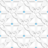 Diagonal white big flowers layered with blue pattern Stock Photos
