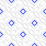 Diagonal white and blue wavy squares and flowers pattern. Abstract 3d seamless background. Diagonal white and blue wavy squares and flowers pattern with cut out Royalty Free Stock Photos