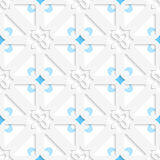 Diagonal white small flowers layered with blue pattern Royalty Free Stock Photos