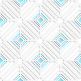 Diagonal white square net and blue pattern. Abstract 3d seamless background. Diagonal white square net and blue pattern with cut out of paper effect Royalty Free Stock Photography