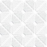 Diagonal white wavy lines and squares layered pattern Royalty Free Stock Photo