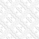 Diagonal white wavy squares and flowers pattern Royalty Free Stock Photo